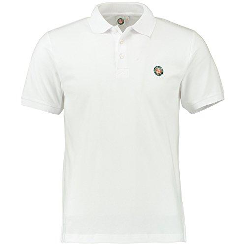 Roland-Garros Polo Homme en coton piqué logo tricolore - Blanc