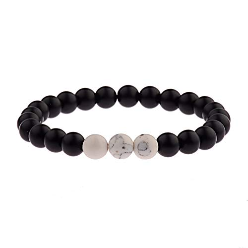 YANOUHZ Armband Klassische Naturstein Weiß & Schwarz Yin Yang Perlen Geflochtene Armbänder Für Männer Frauen -