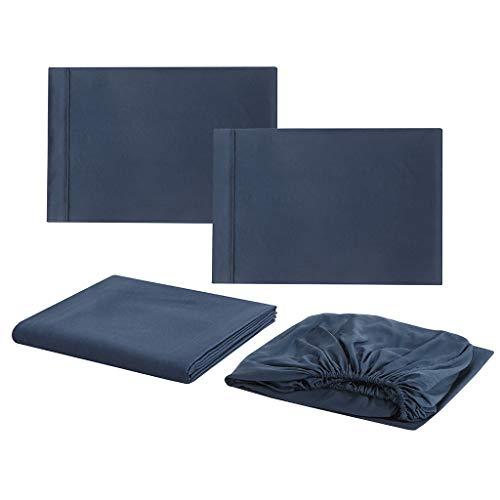 Sisit Einfarbig Simple Series Bettwäsche Bett Kissenbezug 4 Sätze mit Vier Größen zur Auswahl Beinhaltet 1 x Bettlaken 1 x Bettdecke 2 x Kissenbezug (D 274x259cm, Marine) -