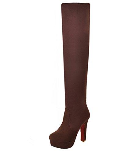 2fd06dfbade7eb YE Damen Stretch Overknee Blockabsatz Stiefel Wildleder High Heels Plateau  Boots mit 12CM Heels Absatz Winterschuhe (40