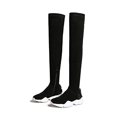 MENGLTX High Heels Sandalen Über Dem Knie Hohe Stiefel Wohnungen Plattformen Reißverschluss Stretch Schuhe Frau Blumen Party Nachtclub Enge Hohe Ritter Stiefel 9 1 - Sandalen-plattformen Stiefel