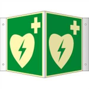 Winkelschild, Nasenschild Defibrillator HIGHLIGHT PVC 14,8 x 14,8cm mit 4 Bohrungen à 3 mm Ø Leuchtdichte: HIGHLIGHT 48 mcd/m²