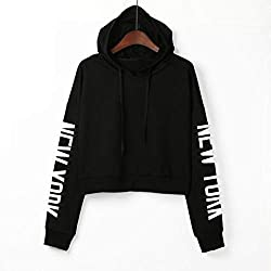 Xmiral Women Sweatshirt Letters Long Sleeve Hoodie Women Fashion Polyester Pullover Tops Blouse (S,black)