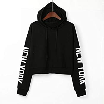 Xmiral Women Sweatshirt Letters Long Sleeve Hoodie Women Fashion Polyester Pullover Tops Blouse (S,black) 0