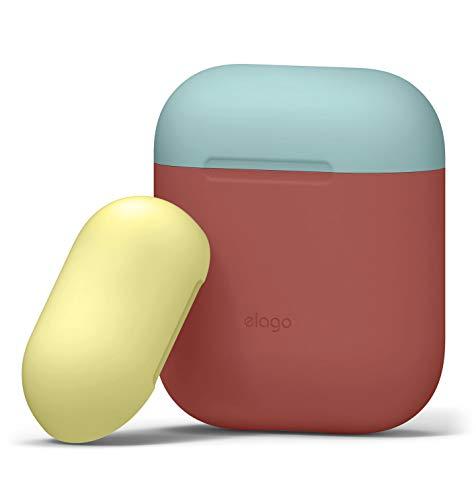 elago Duo Custodia Compatibile con Apple AirPods 1 & 2 (LED anteriore Non Visibile) - Con Due Cappucci Colorati Diversi, Funziona la Ricarica Wireless (Rosa italiana/Blu corallo, Giallo)