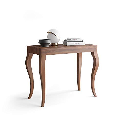 Mobili fiver, tavolo consolle allungabile, modello classico, noce, 45 x 90 x 76 cm, nobilitato/alluminio, made in italy, disponibile in vari colori
