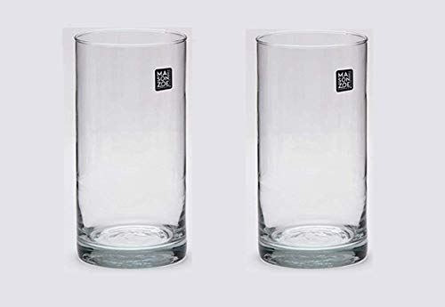 Maison Zoe Mundgeblasene und Handgefertigte Glasvase Zylinder Ø10cm - 2er Set - 20cm hoch - Blumenvase - Deko & Hochzeit -