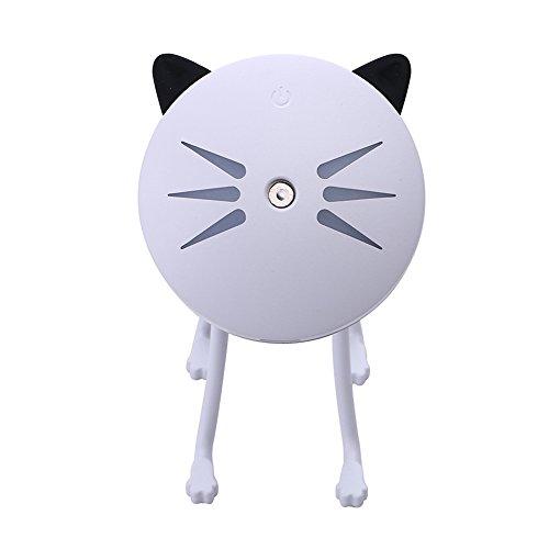 Goodtimes28 Humidificateur humidificateur en forme de chat avec lumière de nuit LED pour la maison, diffuseur d'humidité USB, blanc, Taille unique