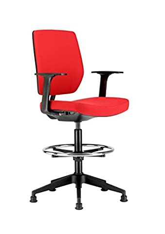 Chairs For Offices HI131104RE High Seat Draughtsman Workbench Counter Chair with Arms Red Free 3 day Delivery