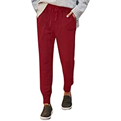 Pantalons FNKDOR Femme Pantalon Été Coton Lin Harem Trousers Léger Cordon Élastique Solide Couleur Pantacourt Sport Pants 7/8 Longueur Pants(du vin,M)