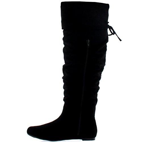 Femmes Equitation Cuisse Haute Hiver Chaussures Mode Grand Pirate Botte Noir Suède