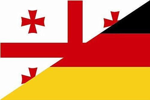 Georgien 12 (UB Aufkleber Georgien - Deutschland 18 cm x 12 cm Flagge / Fahne (Autoaufkleber))