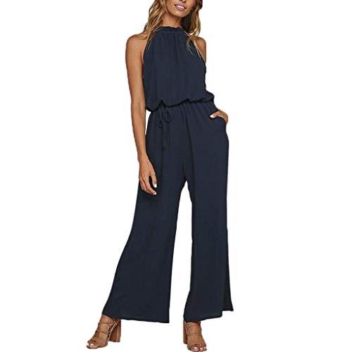 save off 7f777 12107 VICGREY Jumpsuit Donna Elegante, Donne Estate Tasca Senza Maniche Tuta con  Pantaloni Lungo Vestito Abito Cerimonia da Donna Elegante Casual Abiti da  ...