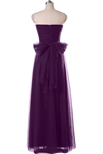 Gorgeous Bride Modern Lang Herz-Ausschnitte Tuell Satin Schleife Abendmode Ballkleid Blau