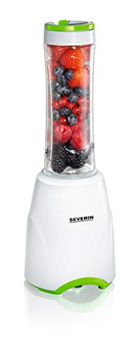 SEVERIN SM 3735 Smoothie Mix & Go (ca. 300 W, 600 ml, Inkl. 2 Trinkbehälter mit Deckel) weiß/grün