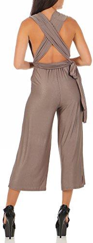 malito Damen Einteiler elegant | Overall mit tiefem Ausschnitt | rückenfreier Jumpsuit | Romper �?Hosenanzug 2552 Fango