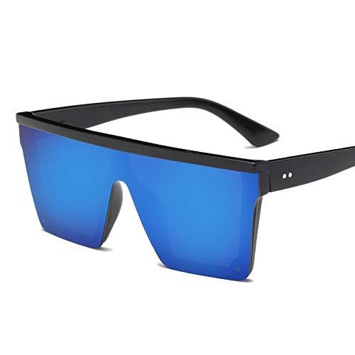 Übergroße Quadratische Sonnenbrille Männer Frauen Flat Top Fashion One Piece Objektiv Sonnenbrille For Frauen Marke Shades Spiegel (Lenses Color : Blue)