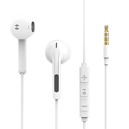 qubbi In-Ear-Kopfhörer Earpods In Ears Headset inklusive Lautstärkenregler mit Mikrofon für Sport Earphones Apple iPhone iOS und Android in weiss