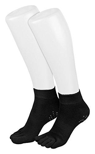 schwarz Piarini 1 Paar Zehensocken kurz | ABS Socken aus Baumwolle | Socken für Yoga Tanzen Pilates Fitness | 35-38