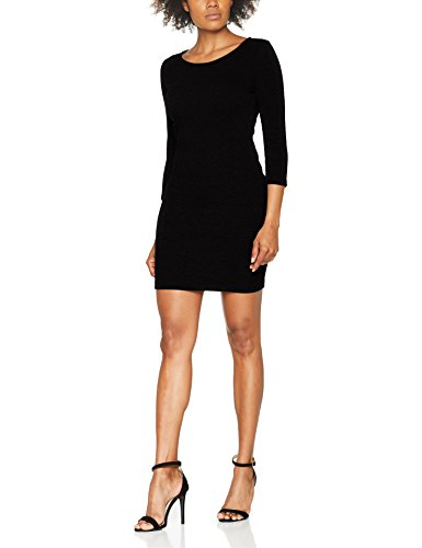 TOM TAILOR DENIM Damen Kleid Structured Bodycon Dress Schwarz (Black 2999), 38 (Herstellergröße: M)