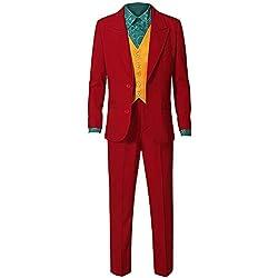 Amatop Disfraz de Joker para Hombre Niños Halloween 2019 Joker Disfraz de Cosplay Retro Camisa roja Chaleco Traje Traje de Fiesta Traje de Disfraz Halloween Cosplay