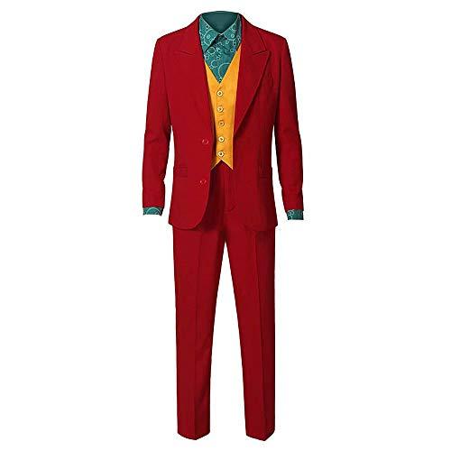 Joker Kostüm 2019 Halloween Cosplay Party Outfit Arthur Fleck Jacke Hose Weste Shirt Komplettset Ritter Clown Kostüm für Herren (Kid Ritter Kostüm)