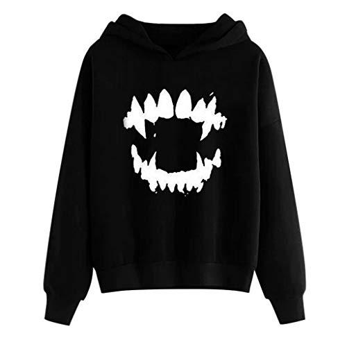 Frashing Langarmshirt Damen Bedrucktes Sweatshirt Retro Pullover Rundhals Shirt Halloween Kostüm Gotisches Kapuzenpullover für Damen mit Kapuze Oversize Schwarzes Langarm Sweatshirt