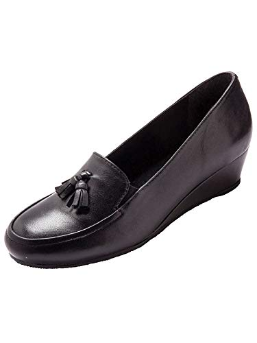 Pediconfort - Mocassins élastiqués Largeur Confort - Femme - Taille : 39 - Couleur : Noir
