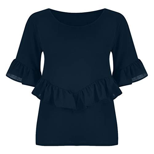 CUTUDE Damen T Shirt, Bluse Kurzarm Sommer Volltonfarbe Rüschenärmel Rundhals Plus Size Top (Schwarz, Small)