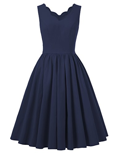 50s dress rockabilly damen v-ausschnitt partykleid cocktailkleider knielang rock marineblau S BP269-2 (Nylon Rock A-linie)