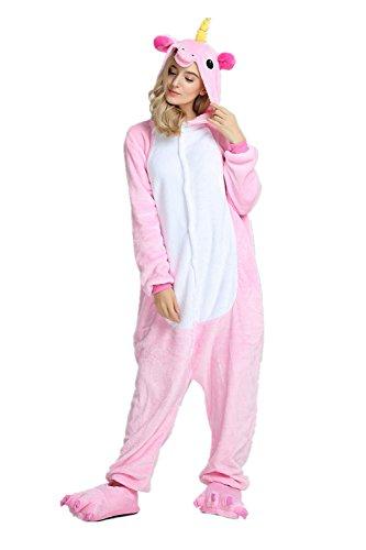 KiKa Monkey Kinder Einhorn-Karikatur-Flanell-Tierneuheit-Kostüme Cosplay Pyjamas (M:158-168CM, Erwachsen-Rosa)
