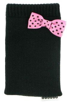 Trendz Universal Smartphone Handysocke - schwarz mit pinker Fliege