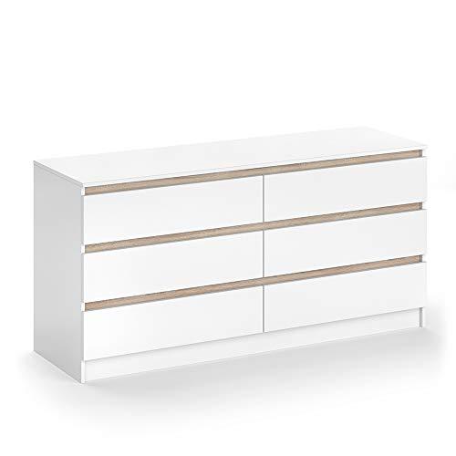 VICCO Kommode Emma - 6 Schubladen Sideboard Mehrzweckschrank Schrank Weiß Sonoma -