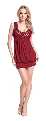 Glamour Empire Femme Mini Robe boule top tunique avec studs sans manches 024 Crimson