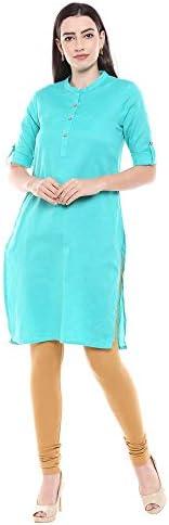 STOP by Shoppers Womens Mandarin Collar Slub Kurta