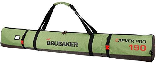 Brubaker Carver Performance Skisack für 1 Paar Ski und Stöcke - Grün meliert Schwarz - 190 cm -
