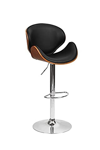 1home Wood Barstool Chair Walnut Bentwood Faux PU Leather Adjustable