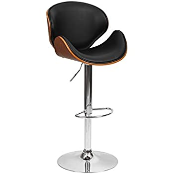 1home Wood Barstool Chair Walnut Bentwood Faux PU Leather Adjustable Barstools Chrome Swivel Stool Chairs  sc 1 st  Amazon UK & 1home Wood Barstool Chair Walnut Bentwood Faux PU Leather ... islam-shia.org