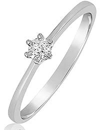 1eb379e90316 Anillo Mujer Compromiso Oro y Diamantes - Oro Blanco 9 Quilates 375 ♥  Diamantes 0.01 Quilates