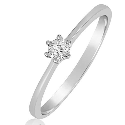 67cae694f2f8 Anillo Mujer Compromiso Oro y Diamantes - Oro Blanco 9 Quilates 375  Diamantes 0.01 Quilates