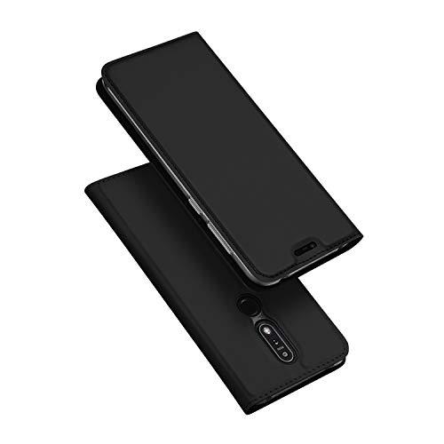 DUX DUCIS Hülle für Nokia 7.1,Ultra Dünn Flip Folio Handyhülle mit [Magnet,Standfunktion,1 Kartenfach] (Skin Pro Series) (Schwarz)