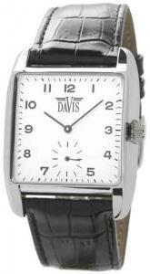 Davis 1410 Unisex Analog Quartz Steel Watch with Black Leather Strap