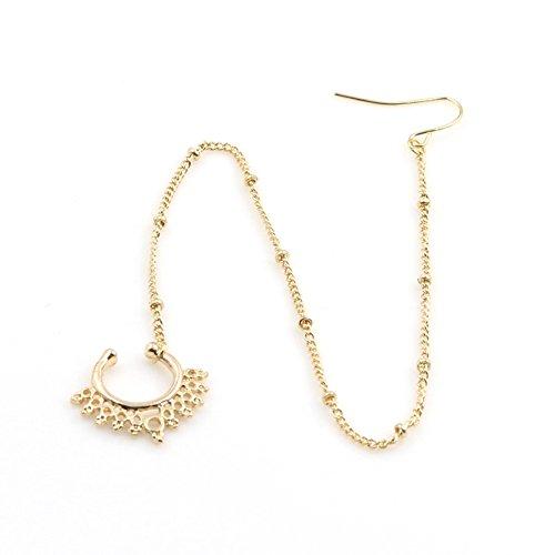 SMCTCRED Traditionelle indische Art Gold-Ton-Nasen-Ketten-Ring Nath hoop Zubehör Schmuck Geschenk für Frauen (Gold)