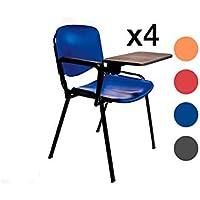 AULAMOBEL Lote De 4 Sillas Apilables con Pala Abatible para Apuntes - Modelo 43P - Sillas con Brazo Extensible y Flexible para Aulas, Academias y Oficinas (Rojo)