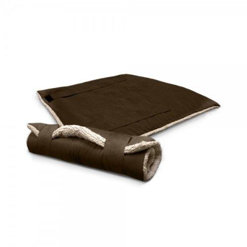Reisedecke mit Schaf-Fell-Imitation 100 x 75 cm, braun