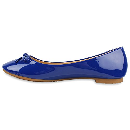 Klassische Damen Lack Ballerinas Schleifen Freizeit Flats Schuhe Blau