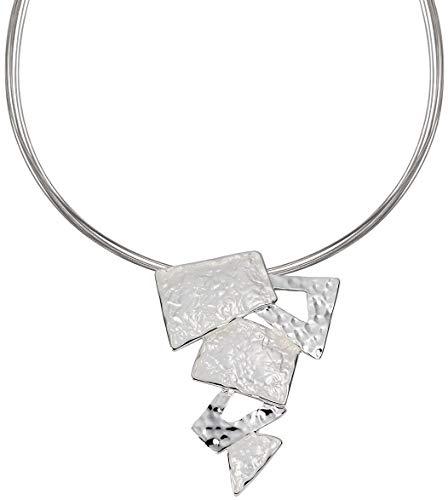 Perlkönig Kette Halskette | Damen Frauen | Silber Farben | Eckiger Anhänger | Nickelfrei