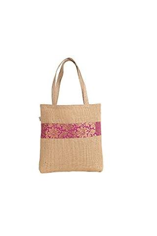 Sacs de jute Shimmer Multi avec bordure détail Taille 37x 40cm (environ) rose