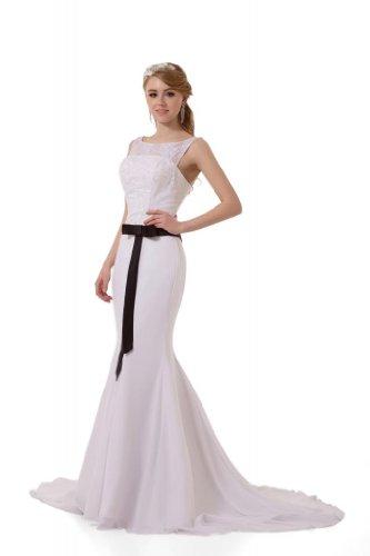 GEOGE BRIDE - Robe decente de cou rond avec bretelles ornee de ruban long et noir Blanc