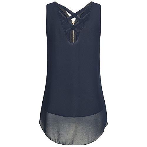 Chiffon Weste Top für Damen/Dorical Sommer Frauen Ärmellos Casual Tank Bluse Tops Schulterfrei Weiches Material Elegant Oberteil Locker Bluse Tops T-Shirt 8 Farben S-5XL Ausverkauf(Blau,X-Large)